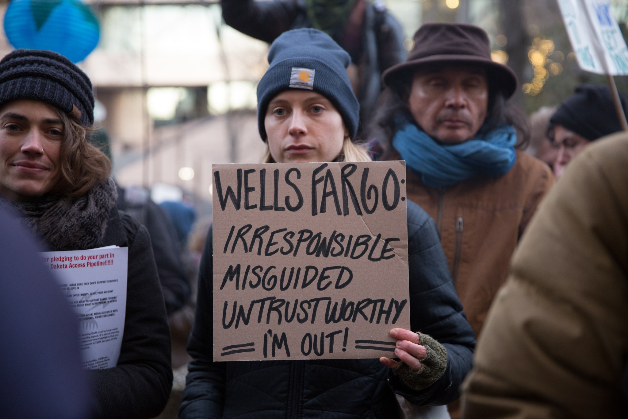 A protester outside the Wells Fargo building in downtown Seattle. Photography by Alex Garland
